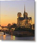 Notre Dame Cathedral At Sunset Paris France Metal Print