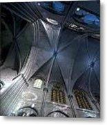 Notre Dame Ceiling In Blues Metal Print