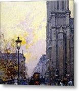 Notre Dame De Paris Metal Print by Eugene Galien-Laloue