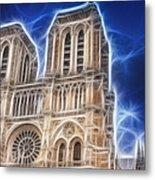 Notre Dame Fractal Metal Print