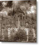 Notre Dame From East Garden Metal Print