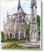 Notre Dame Paris In Spring Metal Print