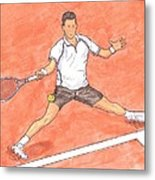 Novak Djokovic Sliding On Clay Metal Print by Steven White