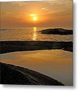 November Sunrise II - Lake Superior Metal Print by Sandra Updyke