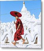 Novice Monk Jumping On White Pagoda - Mandalay - Burma Metal Print
