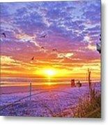 Nsb Lifeguard Station Sunrise Metal Print