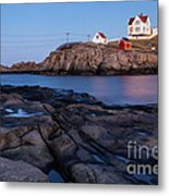 Nubble Light Along Maine's Rugged Coast York Beach Maine Metal Print
