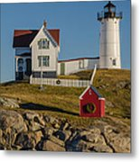 Nubble Light At Christmas Metal Print by Pat Lucas