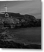 Nubble Light At Sunset Bw Metal Print by Susan Candelario