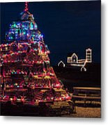 Nubble Lighthouse And Lobster Pot Tree Metal Print