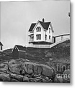 Nubble Lighthouse Cape Neddick Maine Black And White Metal Print