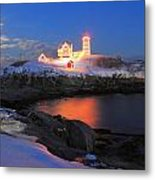 Nubble Lighthouse Holiday Lights And Winter Moon Metal Print by John Burk