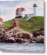 Nubble Lighthouse In Pastel Metal Print