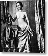 Nude And Curtains, C1850 Metal Print