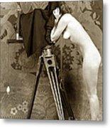 Nude In High Heel Shoes With Studio Camera Circa 1920 Metal Print