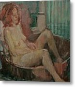 Nude In Old Tub, 2008 Oil On Canvas Metal Print