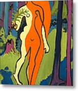 Nude In Orange And Yellow Metal Print