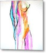 Nude In Watercolor Metal Print