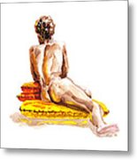Nude Male Model Study Vi Metal Print