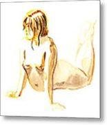 Nude Model Gesture Iv Metal Print