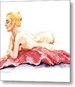 Nude Model Gesture Xiv Resting On Red Metal Print