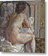 Nude On A Bed, C.1914 Metal Print