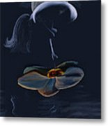 Nude On A Lilly Pad In Moonlight Metal Print