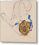 Nude With Blue Stockings Bending Forward Metal Print