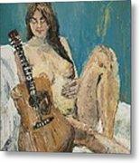 Nude With Guitar Metal Print