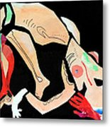 Nude With Red Glove Metal Print
