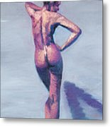 Nude Woman In Finger Strokes Metal Print by Shelley Irish