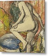 Nude Woman Wiping Herself After The Bath Metal Print