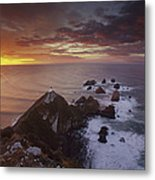 Nugget Point Lighthouse At Sunrise Metal Print