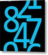 Numbers In Blue And Black Metal Print