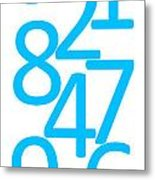 Numbers In Blue Metal Print