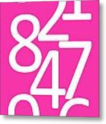 Numbers In Pink And White Metal Print