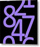 Numbers In Purple And Black Metal Print