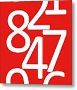 Numbers In Red And White Metal Print