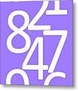 Numbers In White And Purple Metal Print