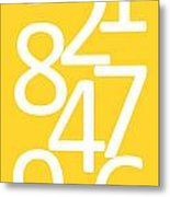 Numbers In Yellow And White Metal Print