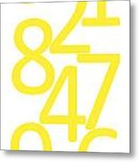Numbers In Yellow Metal Print