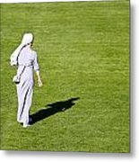 Nun On Green Soccer Field Metal Print by Brch Photography