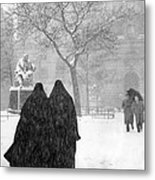 Nuns In Snow New York City 1946 Metal Print