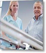 Nurse With Senior Man Using Parallel Walking Bars Metal Print