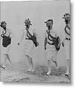 Nurses In A Gas Mask Drill At The U.s Metal Print