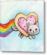 Nyan Cat Valentine Heart Metal Print