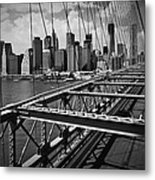 Nyc Brooklyn Bridge View Metal Print