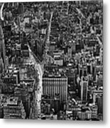 Nyc Downtown - Black And White Metal Print