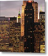 Nyc Midtown Golden Lights Metal Print