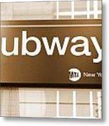 Nyc Subway Sign Metal Print